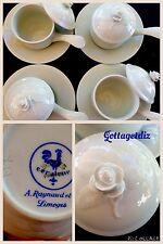 A. Raynaud Ceralene Limoges Set Of 4 Vtg Rose TEACUPS & SAUCERS Pots De Creme