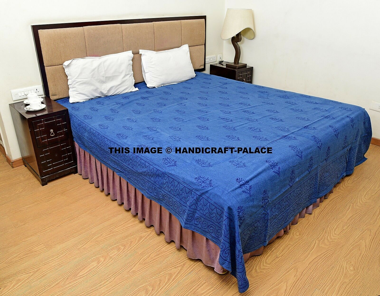 Indian Floral Printed Indigo blueeee Bed Sheet Bed Cover King Size Cotton Bedspread