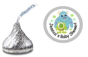 MW21 Personalized Favors for Birthdays Bat Mitzvah PRINTED Hershey Kiss\u00ae Stickers Mermaid Tail in Waves Baby Shower