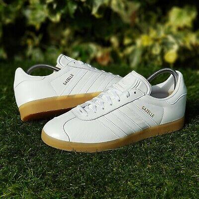 Gazelle White Gum Leather Trainers UK