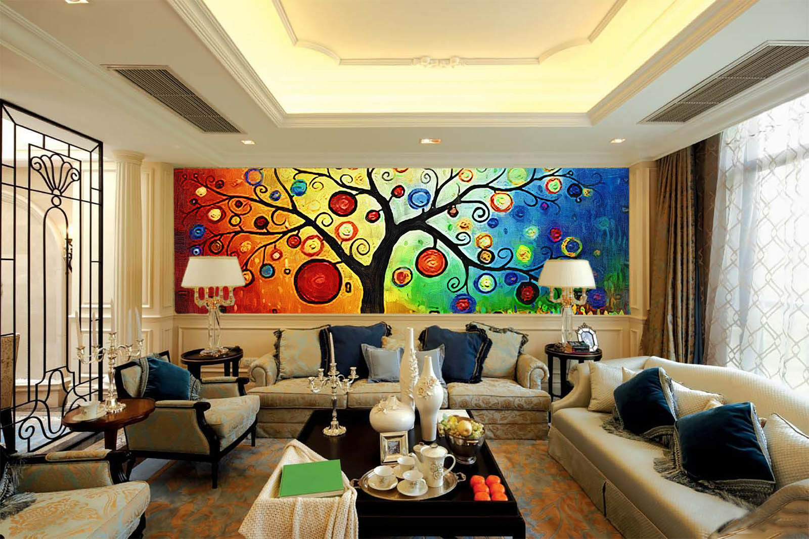 3D colorful Tree  554 Wall Paper Wall Print Decal Wall Deco Indoor Mural Summer