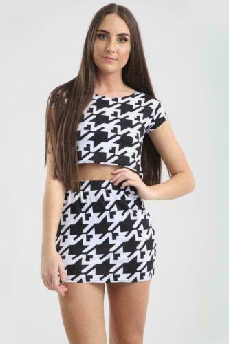 Women/'s Printed Short Sleeve Cropped Crop Top Ladies Mini Skirt Co ord 2 Pc Set