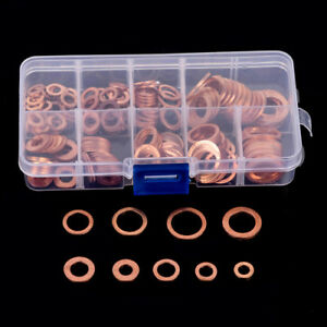 200pcs Assortment M5-M14 Copper Washer Flat Ring Sump Plug Oil Seal Set Tool+Box