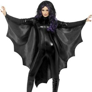 Halloween-Ladies-Unisex-Fancy-Dress-Bat-Wings-Batwing-Cape-Black-by-Smiffys