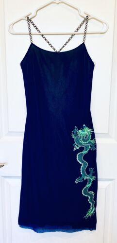 VIVIENNE TAM 90s Mesh Dragon Embroidery Dress w/ C