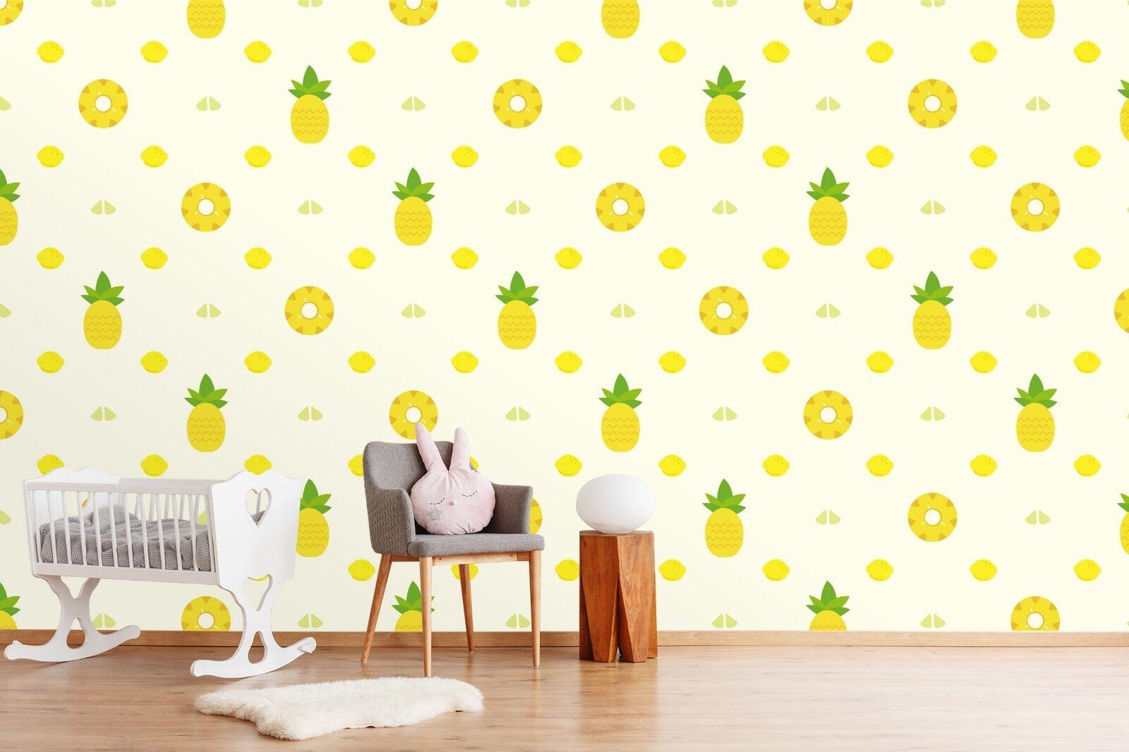 3D Pineapple Gelb  33 Wallpaper Mural Print Wall Indoor Wallpaper Murals UK