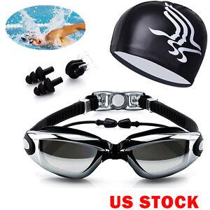 Men-Women-Swimming-Glasses-Goggles-UV-Protection-Non-Fogging-Swim-Cap-Nose-Clip