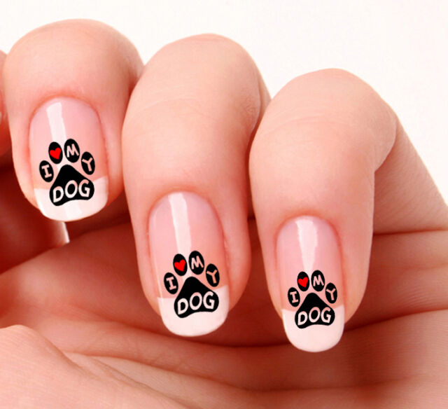 20 Nail Art Stickers Transfers Decals 806 Dog Paw Prints I Love