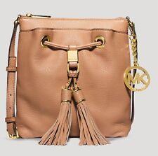 Michael Kors Drawstring Tassel Cross body Messenger Handbag In Satan Leather