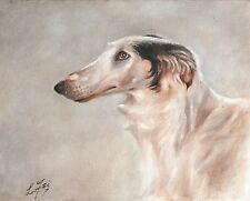 NEW Original Oil Art BORZOI Portrait Painting PUPPY DOG Artist Signed Artwork