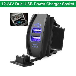 Dual-USB-Phone-Charger-Port-Socket-Waterproof-Blue-LED-Light-Universal-12-24V