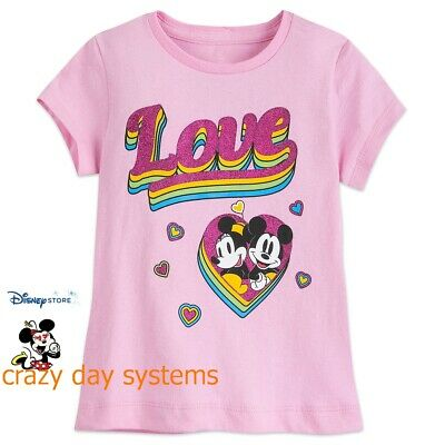 NWT Disney Store I love Minnie Mouse Girls T Shirt Tee Size Large 7//8,10//12