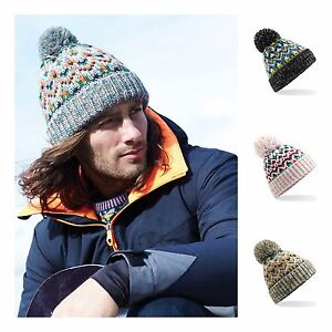 Fair Isle Beanie Bobble Hat Wooly Winter Womens Mens Ladies Knitted ... 254e774f2c5