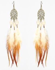 F2289-downy-Feather-bronze-oval-water-drop-bead-cute-dangle-earrings-hot