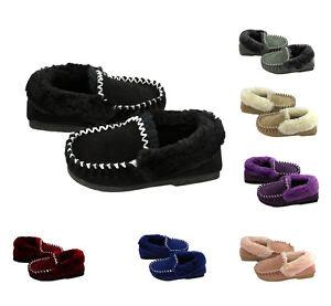 New-Genuine-Sheepskin-Lambskin-Moccasins-Slippers-slip-on-Womens-Ladie-Mens-Warm