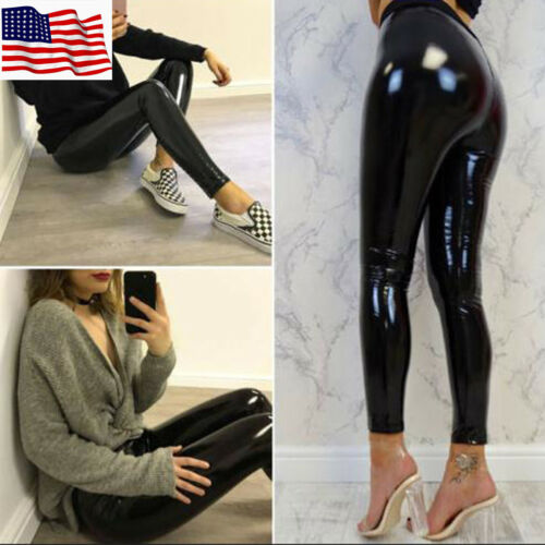 Ladies Women/'s Shiny PVC High Waist Wet Look Skinny Disco Vinyl Pencil Leggings