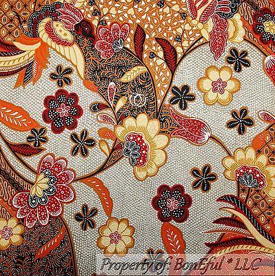 BonEful Fabric FQ Cotton Quilt VTG Paganelli Brown Aqua Blue L Flower Damask Dot