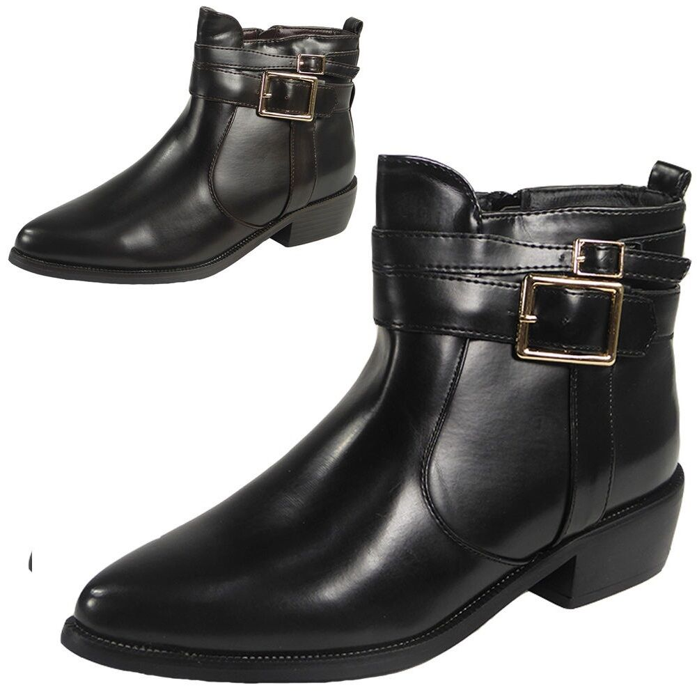 Womens Ladies Ankle Heel Cutout Strappy Buckles Flat Chelsea Boots Shoes Size