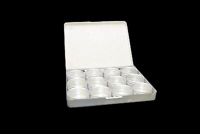 10 X Aluminium 12 Clear Storage Boxes In Tray, 39mm Dia. Beads, Findings. S7776