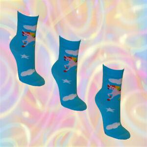 3-Paar-Einhorn-Maedchen-Socken-Damen-Struempfe-unicorn-Kinder-Pferd-bunt-hellblau