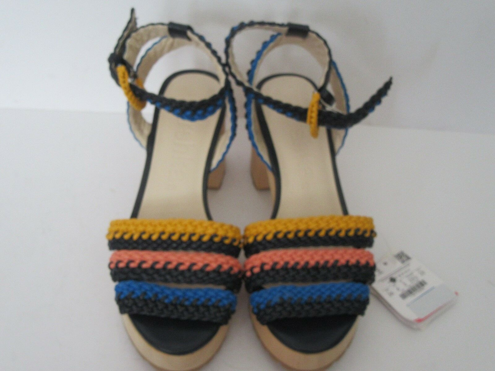 BERSHKA LADIES MULTI COLOUrouge WOVEN STRAPY PEEP TOE SANDAL Taille 3 ANKLESTRAP NEW