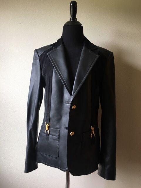 Gorgeous New Lambskin Leather Blazer Jacket Gold Hardware St John Sport S 4/6