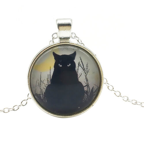 Women Vintage Black Cat Cabochon Silver Plated Glass Chain Pendant Necklace KWCA