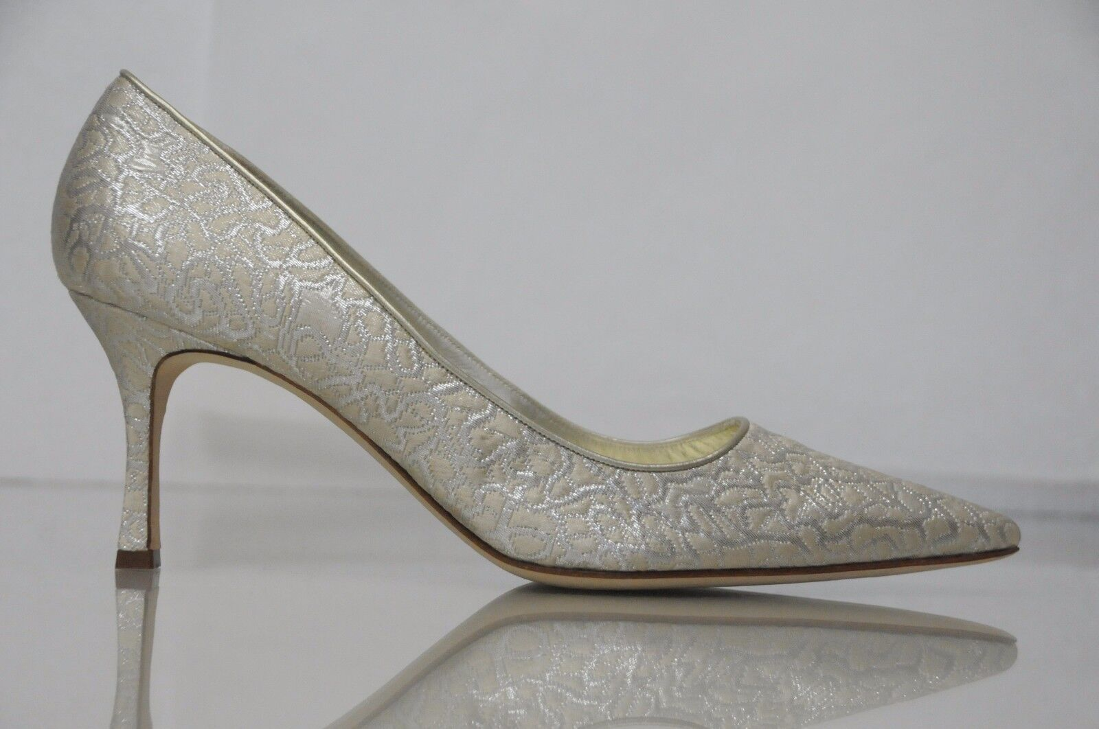 835 New Manolo Blahnik argent on Ivory Brocade chaussures Pumps BB 42 Wedding