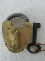 Old Brass Handcrafted 1930's Crown Patent Victorian Pad Lock, Rich Patina