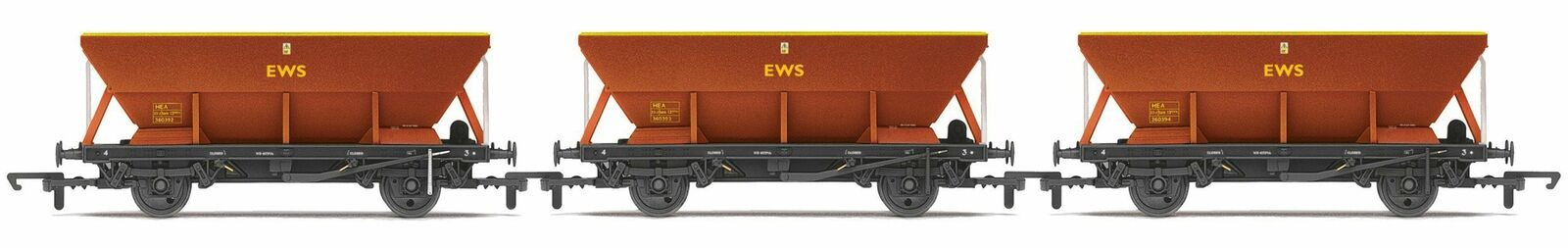 Hornby R6885 OO Gauge EWS HEA Hopper Wagon Triple Pack