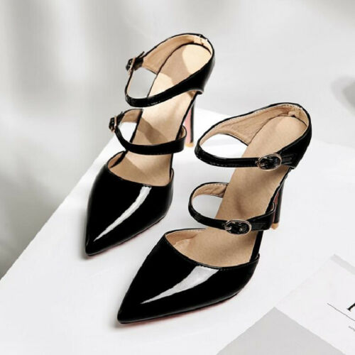 US4.5-11 Womens Strap Patent Leather Pointed Toe Party Shoes Canddy Color Pumps