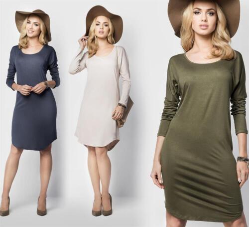 Kleid langarm in 5 Farben Gr S M L XL XXL 3XL B011