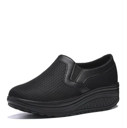 Womens Gym Fitness Slip On Walking Wedge Mesh Trainers Toning Shape Ups Loafers