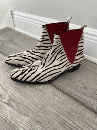Rare Couture Paul Smith Zebra fur And Red Boots 9