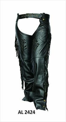 Ladies Black Leather Chaps with Black Roses on Thighs, Fringe, Lined for Warmth