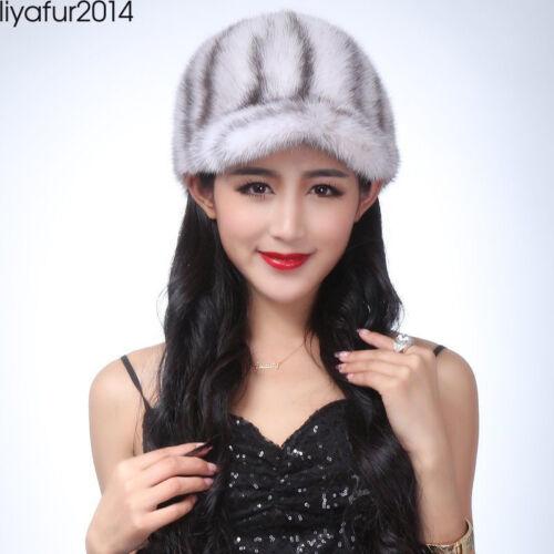 LIYAFUR New Women/'s Real Genuine Mink Fur Horsewoman Hat Cap Winter Warm