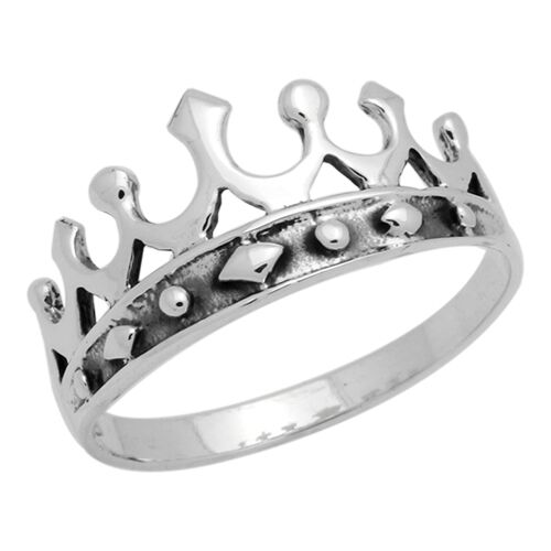 Sterling Silver Princess Crown Ring Oxidize Antique-Finish Design