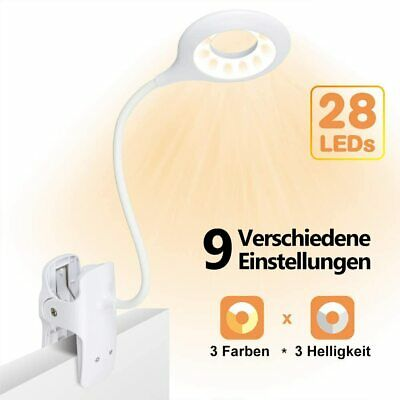 Flexible LED Leselampe Bettlampe Touch Sensor LED Klemmleuchte Clip on 3 Modes