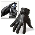 MENS TOUCH SCREEN 100% LEATHER GLOVES THERMAL LINED BLACK DRIVING WINTER GIFT