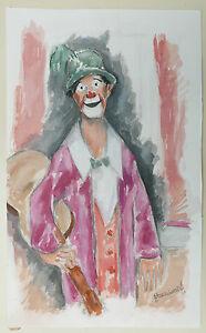 Aquarelle-Originale-Portrait-Clown-Guitare-Cirque-PIERRE-ABADIE-LANDEL-1970