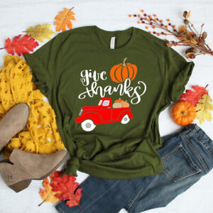 Women Pumpkin Truck Print T-Shirt Short Sleeve Thanksgiving Casual Fall Tops Tee