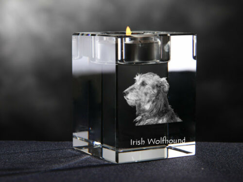 souvenir crystal candlestick with dog Irish Wolfhound Crystal Animals UK