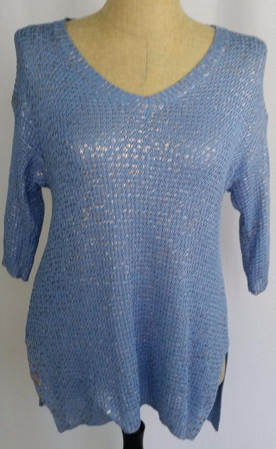 Soft Surroundings Women's Sweater bluee gold XS 3 4 Sleeve High Low NWT