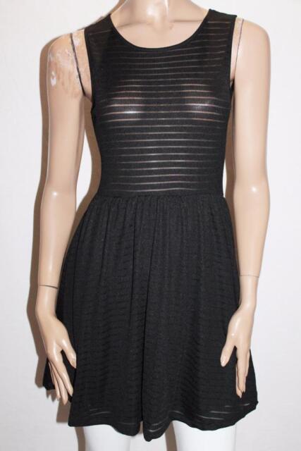 COTTON ON Brand Black Textured Melody Skater Dress Size XS BNWT #SM118