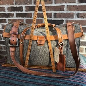 RARE CLEAN VINTAGE 1980s HARTMANN TWEED & LEATHER CARRY ON DUFFEL GYM BAG R$898
