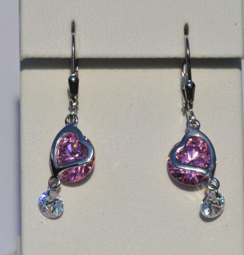 Echt 925 Sterling Silber Rivoli rosa crystal Herz Ohrringe mit Zirkonia Nr 269