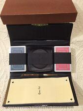 Vintage Fabrique Playing Card Wallet Set Pencil Coasters 2-Decks Score Pad Brown