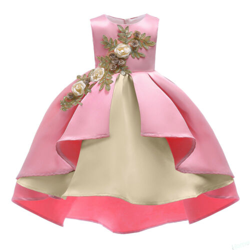 Kids Flower Girls Wedding Bridesmaid Party Dress High Low Princess Formal Gown