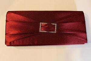 Clutch Brauttasche Brauttäschchen dunkelrot und Perlenbrosche Hochzeit Tasche