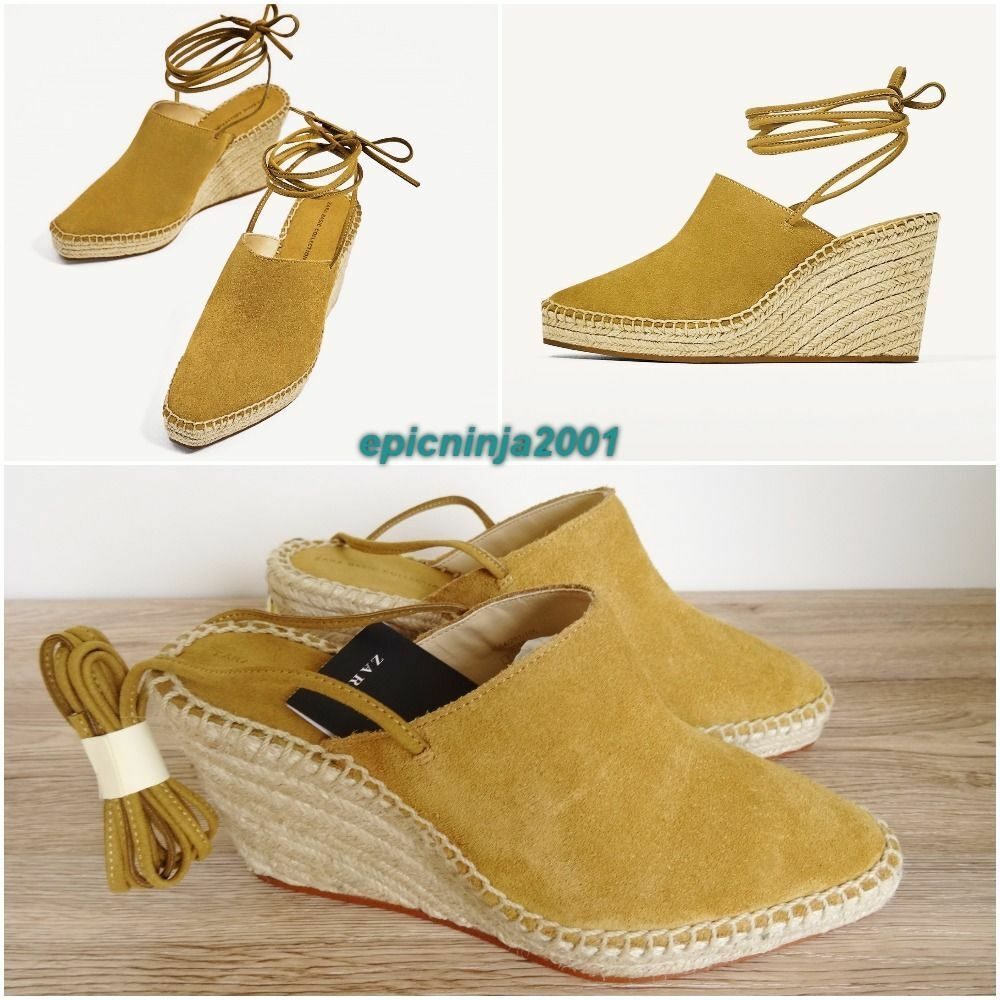 ZARA NATURAL COLOUR SUEDE LEATHER TIED WEDGE SANDAL Schuhe SIZE UK 7 EU 40